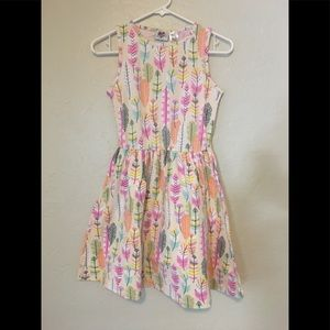 Girls Pastel Feather Cotton Knit Swing Dress
